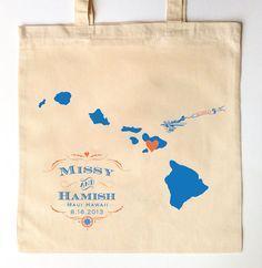 QTY. 50 Custom Printed Wedding Guest Canvas Tote Bags -  Aloha Hawaii