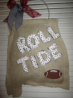 Burlap Football Roll Tide State of Alabama Burlap Door Hanger