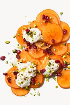 This dazzling winter salad recipe showcases fresh persimmons, Burrata cheese, cranberries and toasted hazelnuts. Winter Salad Recipes, Healthy Holiday Recipes, Thanksgiving Recipes, Whole Food Recipes, Persimmon Recipes, Burrata Salad, Paleo, Slider Recipes, Food Dishes