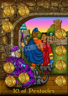 10 of Pentacles from the Wizard's Pets Tarot