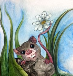 Emily the Mouse  Watercolour on Card