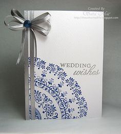 silver and navy wedding card  love the corner stamp