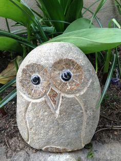 Gartendekoration Steinfigur Gartenfigur Eulen aus Naturstein  Set 4St