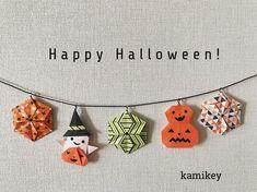 """新作の「六角たとうの星」をハロウィンカラーで。たとう(包み)のように開けられないけど、飾りとして使えます^ ^ ✳︎ 作り方動画は、YouTubeチャンネル【創作折り紙 カミキィ】でご覧ください(プロフィールにリンクがあります) ✳︎ designed by myself Tutorial on YouTube """"kamikey origami """" #origami #折り紙 #kamikey"""