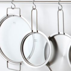 kitchenware—ingeniously flat, stackable, multifunctional lids from the the Eva Trio cookware line designed by Ole Palsby for famous Danish housewares producer Eva Solo
