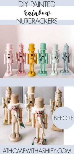 DIY Painted Rainbow Nutcrackers at home with Ashley DIY Painted Rainbow Nutcrackers at home with Ashley The Interior Frugalista intfrugalista Christmas Winter Ideas DIY painted rainbow nutcrackers It s nbsp hellip Painting aesthetic Crafts To Do, Home Crafts, Diy Crafts, Decor Crafts, Christmas Time, Christmas Crafts, Hygge Christmas, Merry Christmas, Rainbow Paper