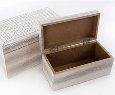 Set de 2 cajas de madera de pino – blanco