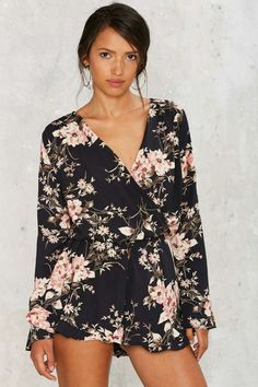 949d82c7b11 Floral to Ceiling Plunging Romper - Clothes