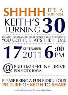 Keith's 30th birthday party invite #30th #birthday #surprise #party