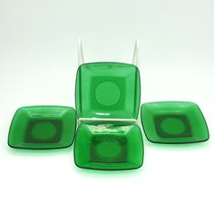 """Emerald Green Plates, Anchor Hocking Charm Pattern,  4 Available, Vintage Mid Century, 8 1/4"""" Square,  Set Filler or Completer, Instant Set by LiliesLegacies on Etsy"""
