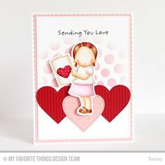 Sending You Love Card by Torico featuring the Pure Innocence I Heart You stamp set and Die-namics, Pinstripes Background and Swiss Dots Background stamps, and the Blueprints 20 and Stitched Hearts Die-namics #mftstamps