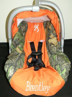 READY TO SHIP mossy oak and orange minky padded handle cushion for infant car seat with snaps