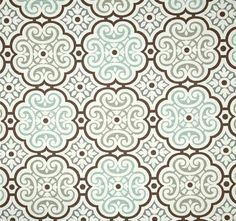 Aqua Grey Brown Mosaic Home Decor Fabric By The Yard Designer Drapery Or Upholstery Yardage Geometric Cotton Home Decor Fabric Aqua B104