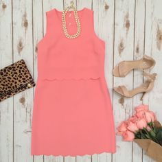 """Ann Taylor LOFT """"Scalloped Crop Illusion Dress"""" Size: 6, Color: """"Strawberry Ice"""", New with tags LOFT Dresses"""