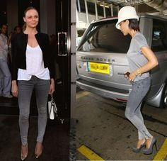 Stella and Victoria in Stella McCartney label ombre skinny jean with zipper