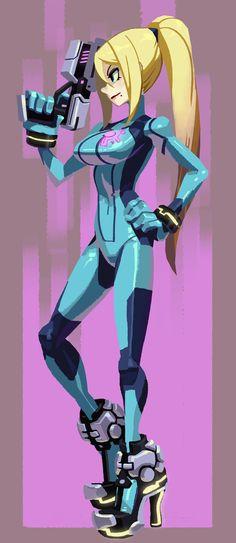 Metroid, Samus Aran, by alex ahad (Skullgirls artist) Game Character, Character Concept, Character Design, Malon Zelda, Star Wars Bb8, Metroid Samus, Metroid Prime, Zero Suit Samus, Super Metroid