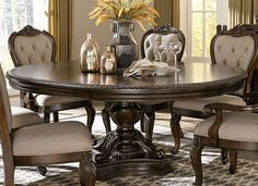 With styling that exemplifies traditional design, the Bonaventure Park Dining Room Collection by Homelegance exudes sophistication and refined elegance. Egg and dart moldings, acanthus leaf motif lend to the traditional look of all pieces. Dining Table With Leaf, Round Pedestal Dining Table, Dinning Room Tables, Elegant Dining Room, Extendable Dining Table, Dining Room Design, Dining Room Furniture, Dining Set, Small Dining