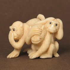 "Mammoth ivory handcrafted ""Three Wise Monkeys"" netsuke, size: x x x x There are three wise monkeys - see no evil, hear no evil, speak no evil. Three Wise Monkeys, See No Evil, Historical Artifacts, Monkey Business, Asian Art, Art Decor, Lion Sculpture, Ivory, Carving"