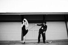 Charlie Chaplin silent film inspired engagement shot