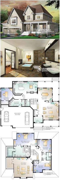 2 STRY- Love this layout, Need to adjust upstairs to have loft lookout. 2 STRY- Love this layout, Need to adjust upstairs to have loft lookout. Sims 4 House Plans, Dream House Plans, House Floor Plans, My Dream Home, Home Design Floor Plans, Floor Plan Layout, House Blueprints, Facade House, House Layouts