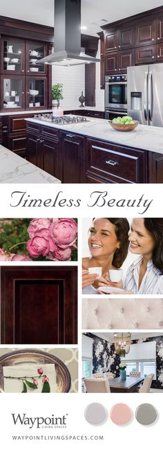 (paid link) Amazing Color Schemes for Kitchens considering dark wood Cabinets Cherry Wood Kitchen Cabinets, Classic Kitchen Cabinets, Cherry Wood Kitchens, Dark Wood Kitchens, Dark Wood Cabinets, Wood Floor Kitchen, Kitchen Cabinets Decor, Kitchen Cabinet Doors, Cabinet Decor