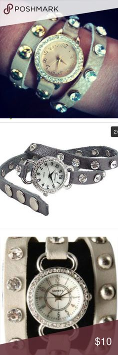 Silver Wrap-around Bling Watch Got this as a gift and it just wasn't my style. It is sterling silver with rhinestones and an adjustable snaps. Charming Charlie Accessories Watches