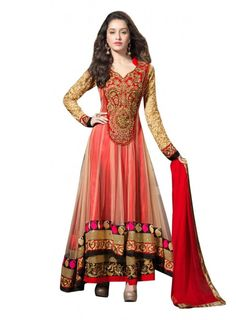 Shraddha kapoor red net anarkali suit with embroidered & patch border work. We make outfits upto size 42 & can be customized. As well as standard stitching is possible. Suits can be customised with any changes if you want for unstitched products