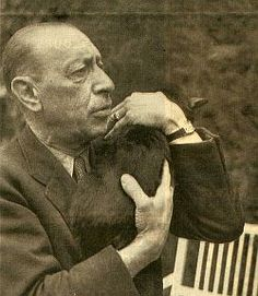 """igor stravinsky composer """"Right of Spring""""--""""Firebird"""" Famous Musicians, Famous Artists, Great Artists, I Love Cats, Big Cats, Celebrities With Cats, Men With Cats, Portraits, Cat People"""