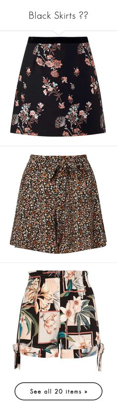 """""""Black Skirts 🔺🖤"""" by izzystarsparkle ❤ liked on Polyvore featuring skirts, mini skirts, black, floral print mini skirt, floral skirt, floral mini skirts, jacquard skirt, flower print skirt, shorts and assorted"""