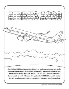 Airport Coloring Book BWI Baltimore A-320 for coloring