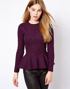 Ted Baker Cable Knit Jumper with Peplum Hem | ASOS Winter Blouses, Peplum Sweater, Cable Knit Jumper, Dress Me Up, Ted Baker, Work Wear, Winter Outfits, Tunic Tops, Street Style