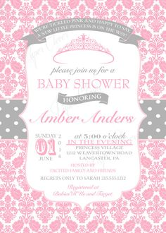 baby shower girl white pink princess tiara magical card | elegant, Baby shower invitations