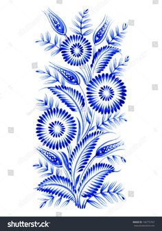 blue, flower composition, hand drawn, illustration in Ukrainian folk style