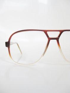 Vintage 1970s Aviator Eyeglasses Mens Sunglasses 70s Amber Fade Clear Glasses Guys Homme Deadstock Optical Frames Oversized Seventies