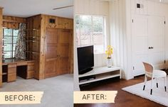 Painting wood paneling makeover: must do for kitchen! Knotty Pine Paneling, Knotty Pine Walls, Knotty Pine Decor, Wood Paneling Makeover, Painting Wood Paneling, Basement Painting, Paneling Painted, Painted Paneling Walls, Painted Wood Walls