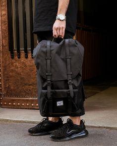 Herschel Supply Little America backpack in black at www.bonvion.com Herschel Supply Backpack, Striped Fabrics, Mountaineering, Black Backpack, Bradley Mountain, Laptop Sleeves, Style Icons, America, Backpacks