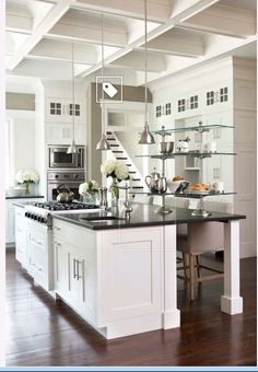 sw pure white in satin for cabinets and trim, pure white in eggshell for ceiling. http://www.houzz.com/photos/1170128/Palmetto-Bluff-Private-Residence-traditional-kitchen-charleston