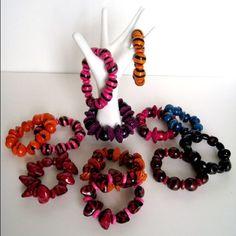 Fruit seed and wood stretch bracelet Handmade. Fashionable colors. Jewelry Bracelets