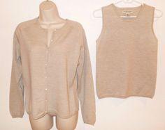 Banana Republic M Twin Set 100% Merino Wool Cardigan Sweater Shell Beige #BananaRepublic #Twinset