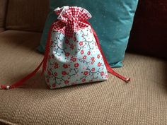 Red White and Blue Cherry Blossom Drawstring Bag by Clothstitched, $17.00
