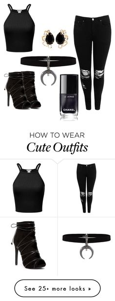 """""""cute all black outfit"""" by goldenfreddyontocos-1 on Polyvore featuring Boohoo and Bounkit"""