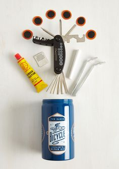 Fix It Up a Notch Bicycle Repair Kit. When your bike needs an extra boost, youll be stoked you have this portable repair kit from Wild  Wolf - a British brand that supports the organization WaterAid, which helps provide clean drinking water to people around the world! #multi #modcloth