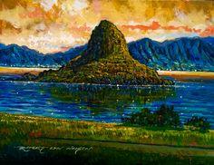 """SunriseImpression""ROBERT LYN NELSON 9x12 OIL/Canvas 2014 #chinamanshat, #oahu #peinture #artreferences #artsy  @robertlynnelson.com"