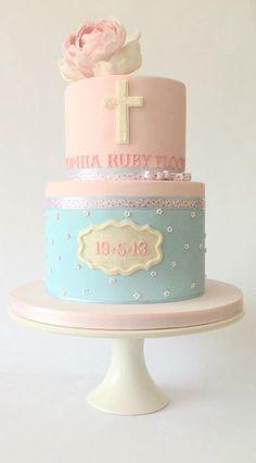 Cake Fondant Bautizo First Communion Ideas Pink Christening Cake, Baptism Cakes, Confirmation Cakes, Comunion Cakes, Ideas Bautizo, First Holy Communion Cake, Religious Cakes, Bolo Cake, Girl Cakes