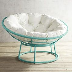Our iconic Papasan goes blue for a bright pop of colorful fun. Handcrafted of all-weather wicker over a wrought iron frame, it plays outdoors as well as in.