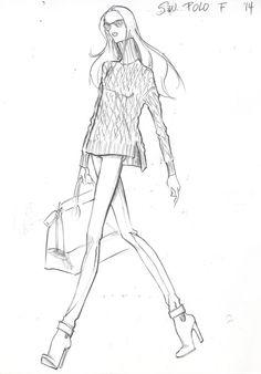 Design Sketch I did for POLO Woman by Ralph Lauren Fall 2014 Fashion Illustration Portfolio, Fashion Illustration Tutorial, Fashion Illustrations, Croquis Fashion, Fashion Sketches, I Love Fashion, Fashion Art, Fashion Design, Ralph Lauren