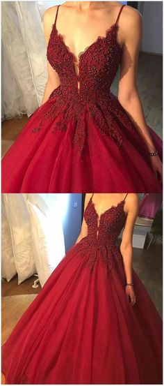 Spaghetti Straps Ball Gown prom Dress,Burgundy Prom Dress,Beading party Dress,Tulle Long Prom/Evening Dress with Appliques #eveningdresses #longpromdresses