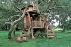 I've always wanted a cool tree house like this... Maybe one day my kids can have one yes please can i have one