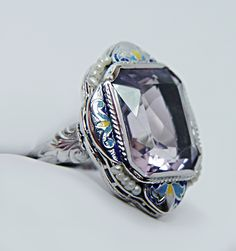 Antique 7ct Amethyst Pearl Enamel Ring 14K White Gold Estate Jewelry | eBay