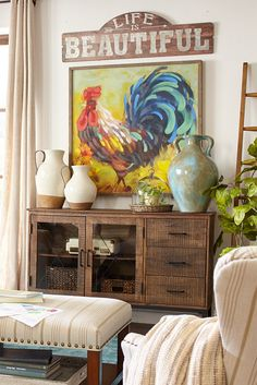 With the look and charm of a rustic farmhouse painting, Pier 1's hand-painted rooster and sunflower on canvas bring country delight and color to any room in your home. And just look at his colors—a finely feathered focal point, for sure.